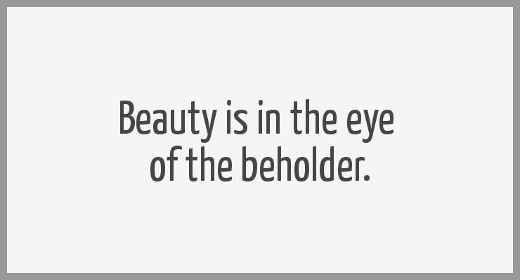 Beauty is in the eye of the beholder - Beauty is in the eye of the beholder