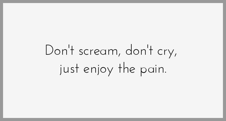 Don t scream don t cry just enjoy the pain - Don t scream don t cry just enjoy the pain