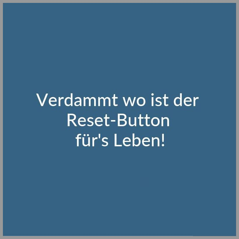 Verdammt wo ist der reset button fuer s leben - Verdammt wo ist der reset button fuer s leben