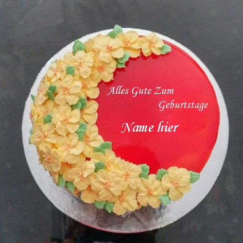 Geburtstagskuchen 1 - Verzierter roter Samt-Kuchen für Freund-Geburtstag mit Namen