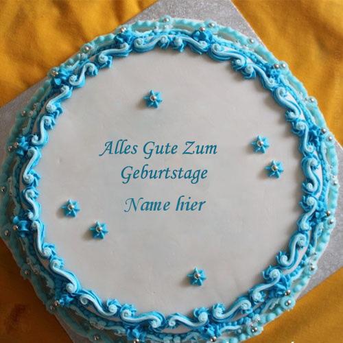 Geburtstagskuchen 19 1 - Blauer Blumengeburtstagskuchen mit Namen
