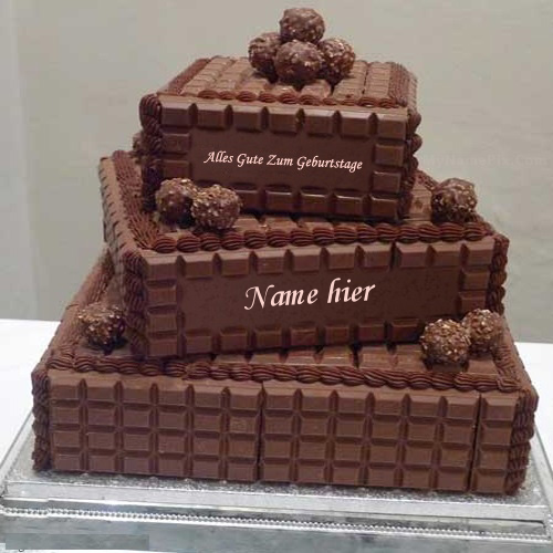 Geburtstagskuchen 22 1 - Schokolade überlagert Geburtstagskuchen mit Namen