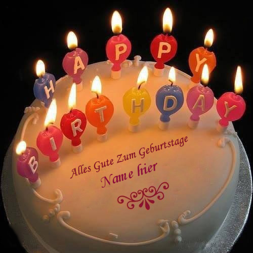 Geburtstagskuchen 24 1 - Kerzen Alles Gute zum Geburtstag Kuchen mit Namen