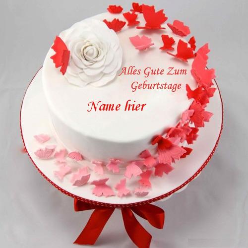 Geburtstagskuchen 27 - Schmetterlinge Geburtstag Kuchen mit Namen