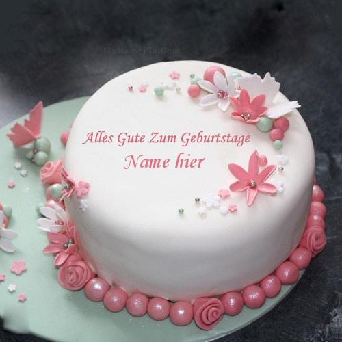 Geburtstagskuchen 28 - Blumen eleganter Kuchen mit Namen