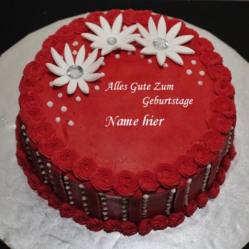 Geburtstagskuchen 30 - Roter eleganter Geburtstagskuchen mit Namen