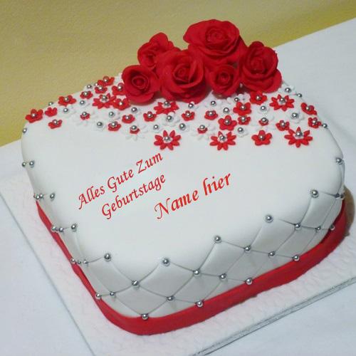 Geburtstagskuchen 33 - Schöner Rosenkuchen mit Namen