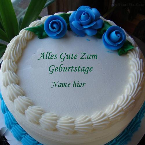Geburtstagskuchen 34 - Blauer Blumen Eiscremekuchen mit Namen