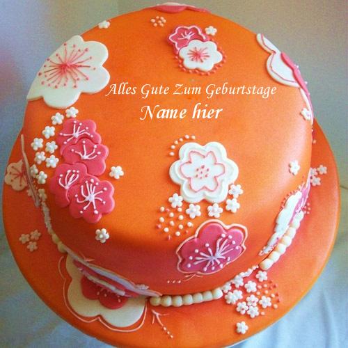 Geburtstagskuchen 39 - Schöner orange Geburtstagskuchen mit Namen