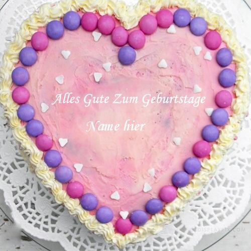 Geburtstagskuchen 44 - Rosa Herz Kuchen mit Namen