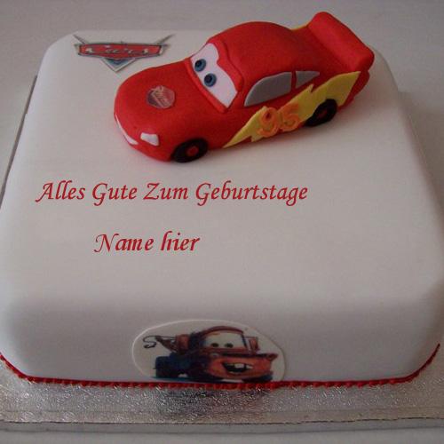 Geburtstagskuchen 5 - Auto Geburtstags Kuchen für Kinder mit Namen