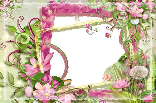 Fotorahmen Fotorahmen mit rosa und grünen Blumen Liebesrahmen - Fotorahmen Fotorahmen mit rosa und grünen Blumen Liebesrahmen